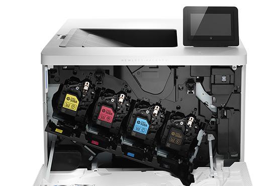 HP Color LaserJet Enterprise M553x, color printer, toner in printer detail